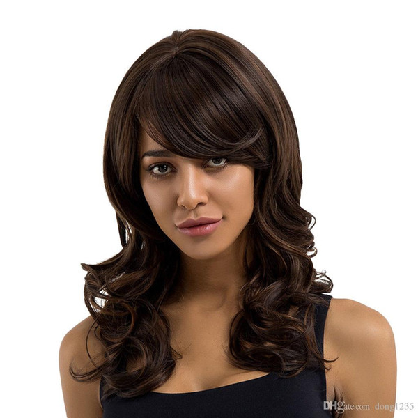 Lady Long Side Bang Full Wig Wavy Curly Brown Synthetic Hair Cosplay Costume>>>>>Free shipping New High Quality Fashion Picture wig