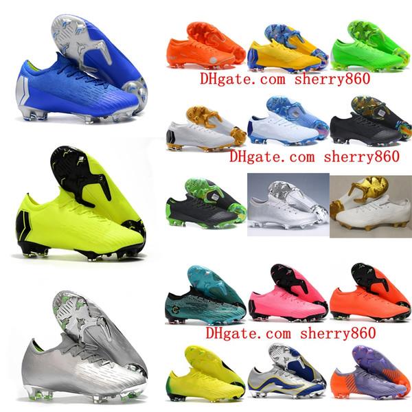 2019 mens soccer cleats Mercurial VAPORX Fury VII Elite SE FG soccer shoes Mercurial Superfly CR7 neymar football boots socks ACC black