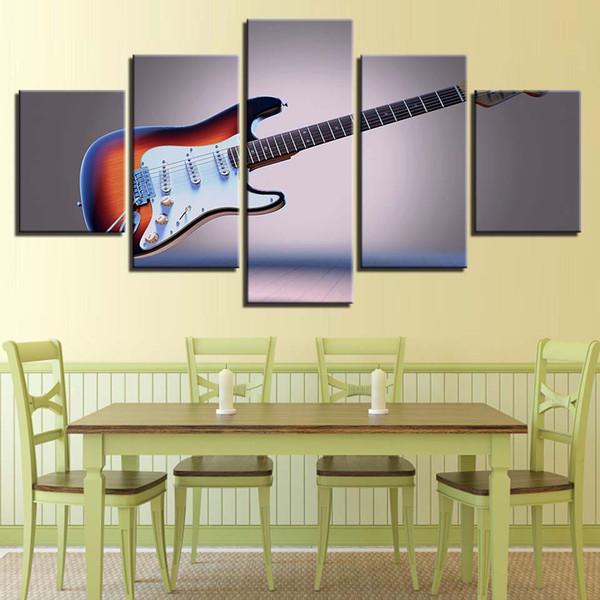 HD Stampe decorazione domestica della tela di canapa Pittura 5 Pezzi strumenti musicali della parete di arte della chitarra modulare Soggiorno Pictures opera d'arte poster