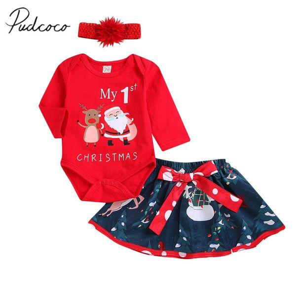 2018 estrenar Infant Kids Baby Girls ropa de Navidad 3PCS Carta Navidad Red Romper Tops + dibujos animados pantalones + sombreros trajes de otoño