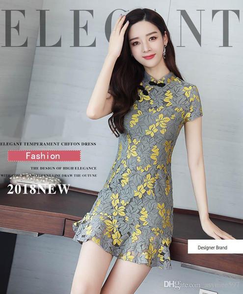 Модный новый Cheongsam Изменить стиль Женщины Кружевные платья, Платье Русалка Botton с запахом, Один цвет, Ницца Лето модно
