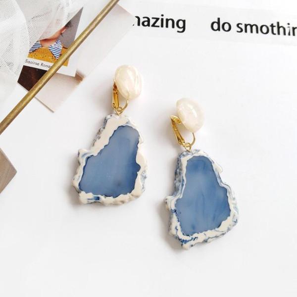 Único creativo geométrico irregular mármol patrón resina resina piedra pendiente acrílico gota pendiente para mujer moda joyería regalo al por mayor