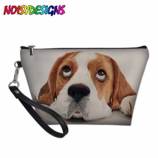 Women Make Up Bag Girls Cosmetics Pouchs Animals Beagle Dog Pattern Makeup Case Box Ladies Travel Accessories Beauty Organizer