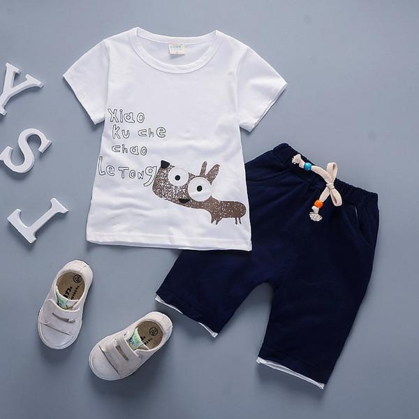 good quality Fashion baby boy clothes summer New style clothes suits Children boys cartoon dog short sleeves t-shirt+shorts 2pcs set