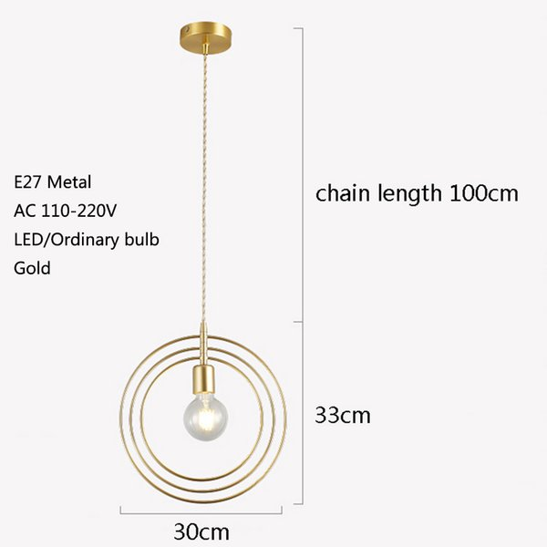 Nordic creative personality single head LED E27 gold pendant lights for living room bedside restaurant hotel porch balcony bar