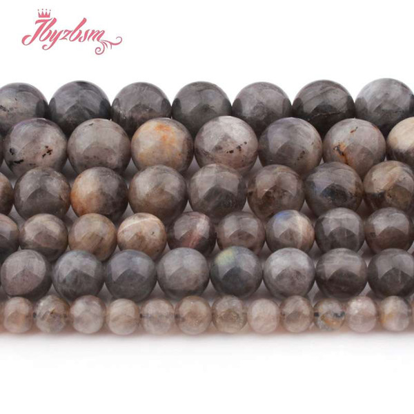 "4,6,8,10mm Smooth Round Gray Larvikite Beads Ball Natural Stone Beads For DIY Necklace Bracelet Jewelry Making 15"" Free Shipping"