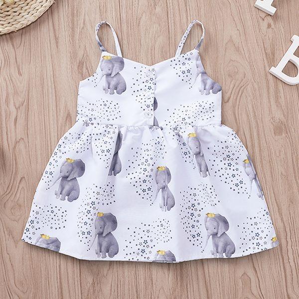INS Toddler kids dress girls stars crown elephant printed dew shoulder princess dress child cartoon suspender dress baby girl clothes F7337
