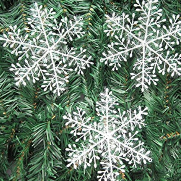 60Pcs Plastic Hanging Snowflake Christmas Snowflake Decorations Christmas Tree Hanging Ornaments White