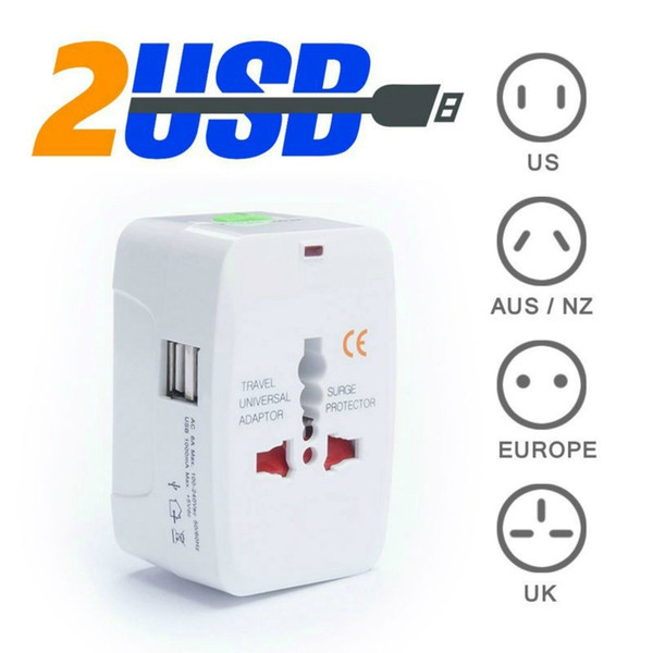 Cheap Electrical Plug Option 2 USB Charging Port All in One Universal Worldwide Travel Wall Charger AC Power AU UK US EU