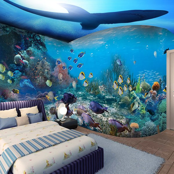 3d Papel Parede Fish Coral Sea World Dolphin Wall Paper 3d Photo Mural Wallpaper For Kid Child Roomsofa Background Decor 4styles Wallpaper For