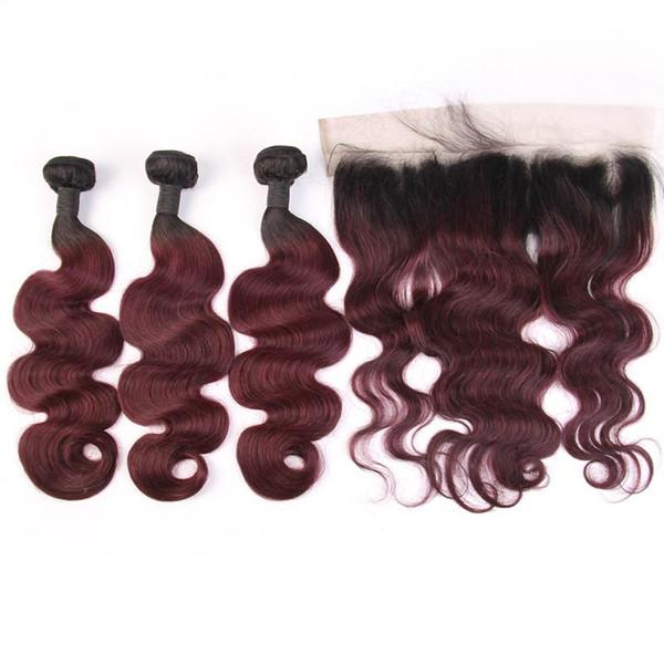 Wine Red 1b 99J Ombre Пучки человеческих волос с кружевом Фронтальная закрытие Бразильские волосы Remy 3 Пучки с закрытием 13 * 4