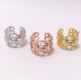 ارتفع الأزياء التيتانيوم الصلب العلامة التجارية الذهب الخواتم الفضية مفتوحة H للنساء الرجال الحب حلقة حفل زفاف عيد الحب هدية المجوهرات بالجملة