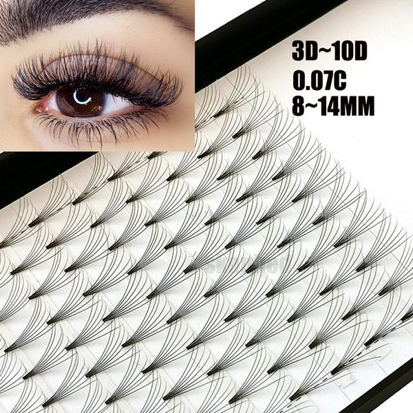 New Hot 12Lines 3D~10D Russian Premade Volume Fans Eyelashes Extension C Curl 0.07 Thickness Heat Bonded Eyelashes Makeup Tools