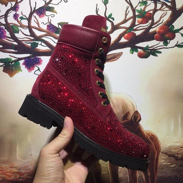 BlinBling Women Shoes Boots 2018 Winter Lace-Up Platform Snow Boots with Logo Origin Box Luxury Brand Easy Wear Round Toe Ankle Boots