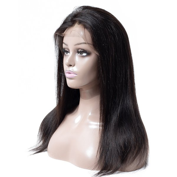 human hair lace front wigs Hot-selling wig full lace head set real hair straight lace wig medium-length straight front hair set