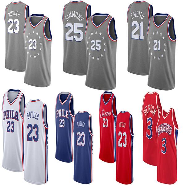 3a6c60d6 Jimmy 23 Butler 76ers City Edition Jersey Men's Philadelphia Joel 21 Embiid  Ben 25 Simmons 3