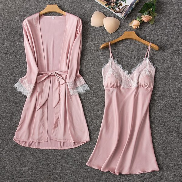 Women Silk Sexy Robe Gown Sets Summer Satin Lace V-Neck Dressing Gowns Nightdress 2 Pieces Sleepwear With Chest Pads