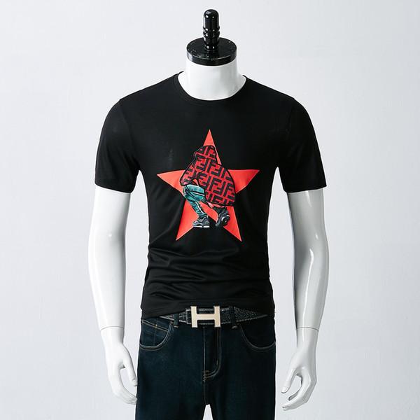 Neue Fendis T-Shirt Marke Mens Designer T-Shirt hochwertige Seide Stoff Baumwolle T-Shirts drucken Pop Shirt lässig Top T-Shirts Luxus gehobenen T-Shirt
