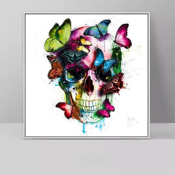 RELIABLI ART Peinture Sur Toile Coloré Crâne Abstrait Papillon Affiches Et Gravures Moderne Décoratif Photos Mur Art Sans Cadre