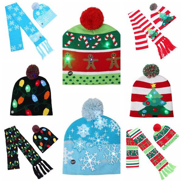 Baby LED Hat Scarf Set Santa Knitted Beanies Hats Crochet Pom Pom Caps Winter Warm Baby Hats Xmas Headwear Christmas Gift CCA10770 40pcs