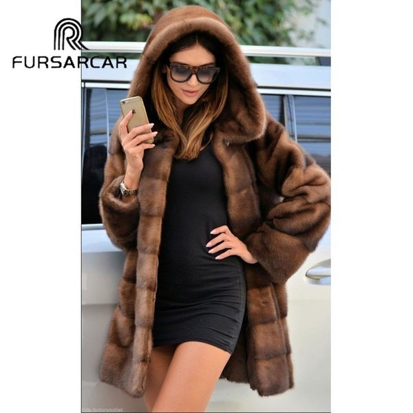 FURSARCAR 2018 New Arrival Luxury Natural Mink Fur Coats For Women With Big Fur Hood 80 CM Long Genuine Mink Fur Female Coat D190111205