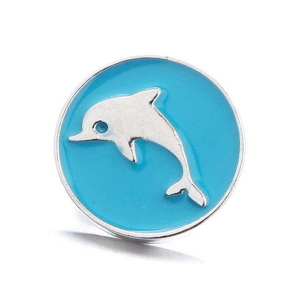 Noosa Druckknopf Blau Ölgemälde Delphin Ingwer Druckknopf Hohle Blume Kristall Snap Charms Armband Halskette Schmuck