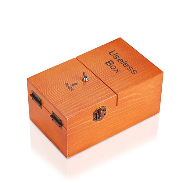 best selling Useless Box Turns Itself Off in Wooden Storage Box Alone Machine Fully Assembled in Box Gifts for Adults and Children
