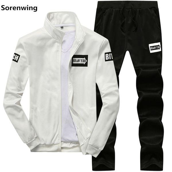 2019 Men Sportswear Hoodies Set Spring Suit Clothes Tracksuits Male Sweatshirts Coats Track Suits Joggers Plus Size autumn 8875