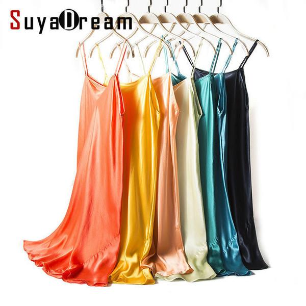 Silk Sleep Dress Real Silk Women Sleepwear Healthy Home Dress Slips Sale Spring Summer New Black Red Pink Q190517