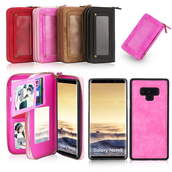 Hot Dual Zipper Wallet Case for Samsung Galaxy Note9 Note8 Note3 Note4 S8 S9 S7 S6 S5 Card Holder Stand PU Shell with Removable Back Case