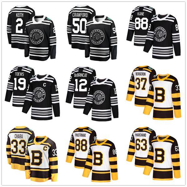 2019 Klassisches Wintertrikot Chicago Blackhawks Boston Bruins Patrick Kane Jonathan Deews Brincat Crawford Chara Pastrnak Patrice Bergeron M