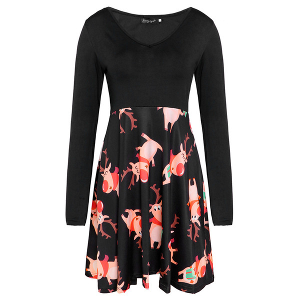 Fashion Designer Ladies Skirt Autumn New Long Sleeve V-neck Print Dress Ladies Fashion Casual Skirt snug