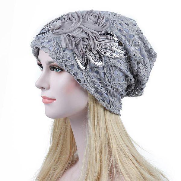 Fashion Lace Flower Slouchy Baggy Head Cap Elegant Women Metallic Chemo Beanie Skullies Hat Ladies Turban Vintage Wrinkle Cap