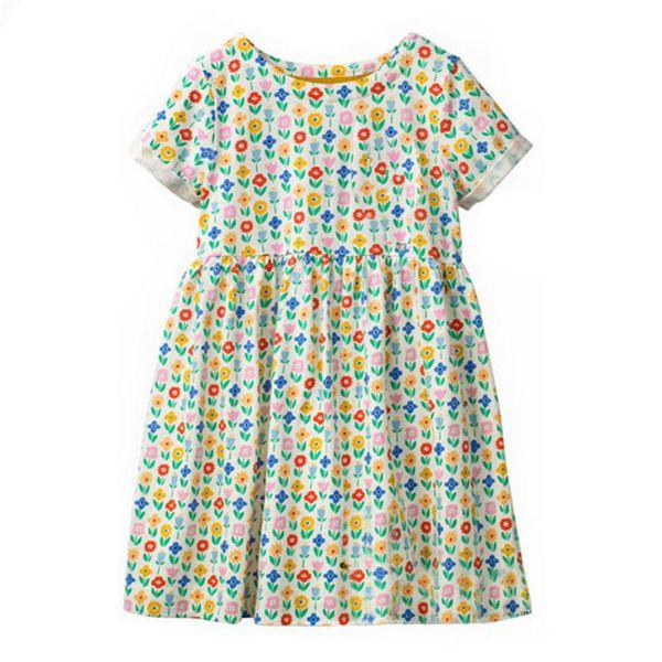 kids designer clothes Yellow Flower Girls Dresses kids designer clothes 100% Cotton Quality Striped Cartton Baby Girls Dresses