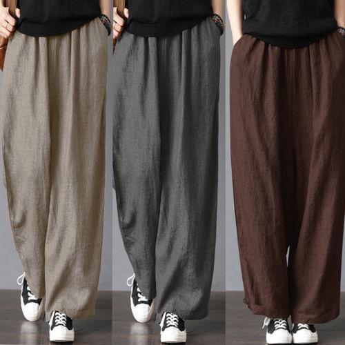New Cotton Linen Wide Leg Pant Men Fashion Casual Loose Wide Leg Pants Harem Trousers Oversize Vintage Trousers Plus Size S-3XL