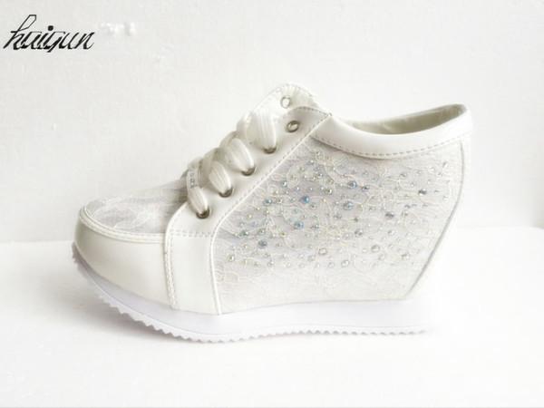 8cm Black White Free Shipping Hidden Wedge Heels Fashion Women's Elevator Shoes Casual Shoes For Women Wedge Heel Rhinestone