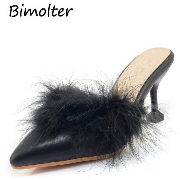 Bimolter Sivri Burun düz topuklu ayakkabı kadın kapalı toe slip-on terlik mujer kürklü saç slaytlar katır tasarımcı ayakkabı lüks B003