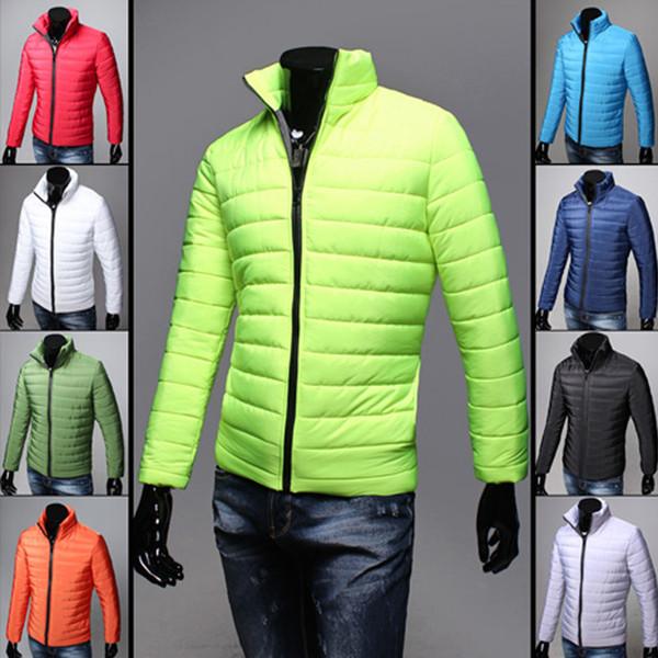 Erkekler Coat Kış Moda Erkekler Pamuk Coat Moda Sıcak İnce Casual Standı Yaka Fermuar Ceket Kış Giyim