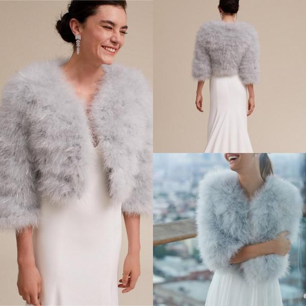 Silver Grey 2019 New Fur Wraps Wedding Shawls Bolero Jackets Winter Bridal Cape Winter Coat Bridesmaid Wrap Fast Shipping