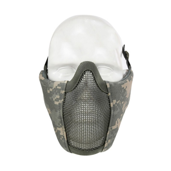 Máscara Facial Tático Respirável Meio Inferior Ao Ar Livre Dobrável Ciclismo Máscara Facial Protegendo Máscaras De Malha De Rede De Aço
