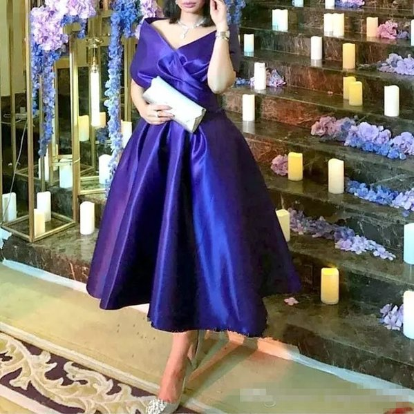 Dark Purple Tea Length Mother Of The Bride Dresses Plus Size Elegant Off Shoulder Satin Arabic Cheap 2019 Prom Party Formal Gowns