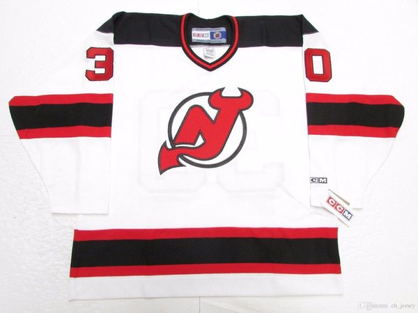 Cheap custom MARTIN BRODEUR NEW JERSEY DEVILS WHITE VINTAGE CCM HOCKEY JERSEY stitch add any number any name Mens Hockey Jersey XS-5XL
