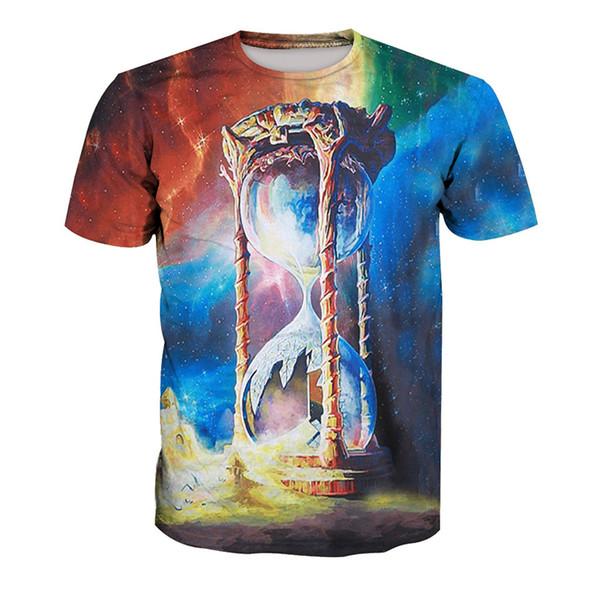 T-shirt da uomo tempo a clessidra 3D digitale completo stampato uomo Graphic Tee Shirt Casual Tops unisex a maniche corte T-shirt camicetta (RT-1265)