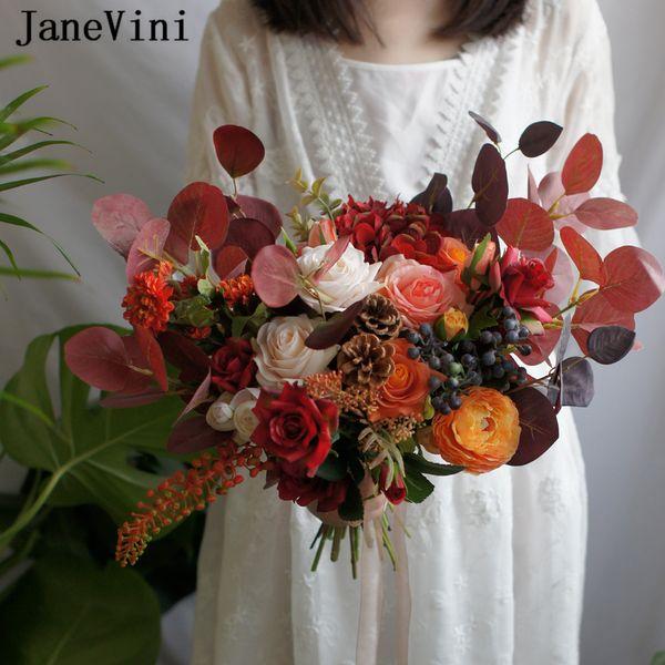 JaneVini 2019 Magnífico Rojo Naranja Boda Exterior Flores Gran Ramo de Novia Seda Artificial Rosa Peonía Bouquet De Fleur Mariage Nueva Llegada