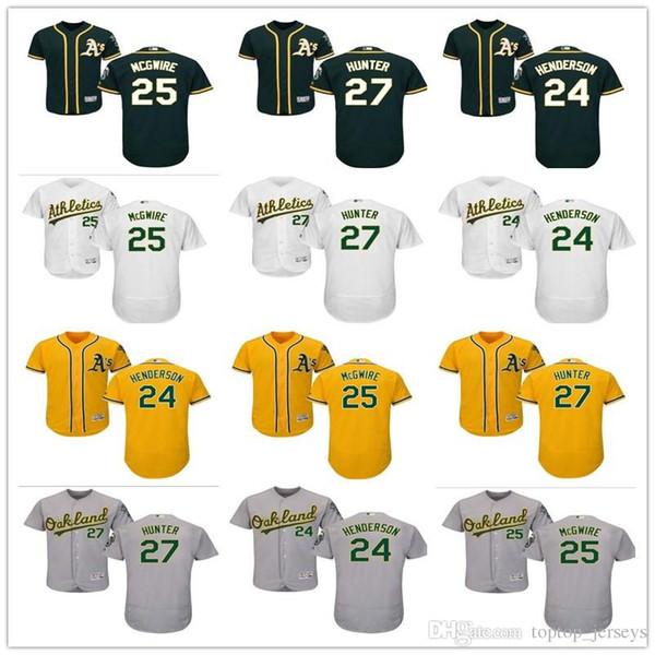 2019 custom Oaklan Men mujeres jóvenes Majestic Athletics Jersey 24 Rickey Henderson 25 McGwire 27 Catfish Hun en casa niños camisetas de béisbol