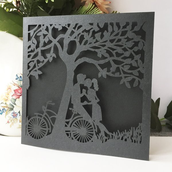 Hollow Lace Laser Cut Lovers Kiss Wedding Invitations Card Universal Greeting Cards Blessing Gift Cards Wedding Invitation Etiquette Wording Create