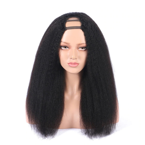 Kinky Straight Middle U Part Human Hair Wigs 180% High Density Brazilian Remy Hair Wig Medium Size Cap Free Shipping