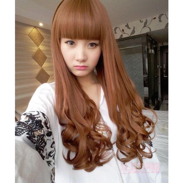 The wigWig female long curly hair big wave pear head inside buckle bangs wig set Korea natural realistic long straight hair