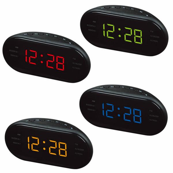 LED Alarm Clock Radio Digital AM / FM Radio Red Con EU Plug Radio Wecker Digital LED Leuchtschirm Snooze Elektronische Uhren