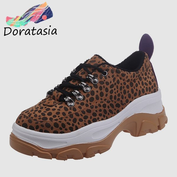 DORATASIA 2019 New INS Hot Thick Platform Leopard Sneakers Women lace-up Ladies Flat Running Women Casual Shoes Woman